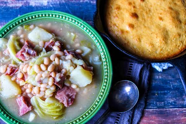 Navy Bean Soup With A Side Of Cornbread.