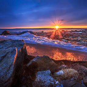 Orange crystal by Bent Velling - Landscapes Sunsets & Sunrises ( canon 5d mk2, winter, l lens., ice, sunset, ef 17-40mm f4, moss;jeløy, seascape, norway,  )
