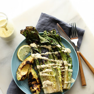 Grilled Avocado & Romaine Caesar Salad (vegan, gf)