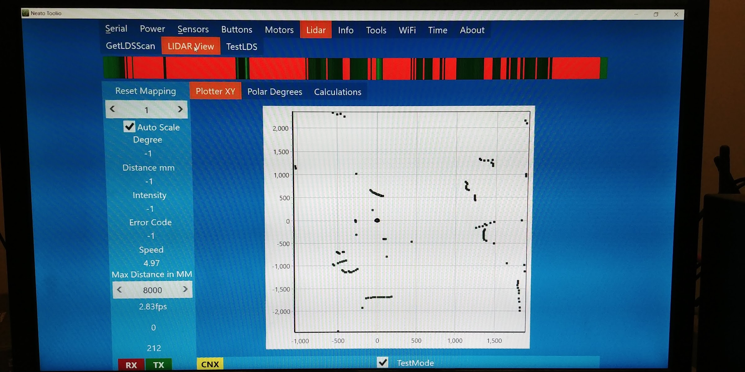 Neato Lidar scan