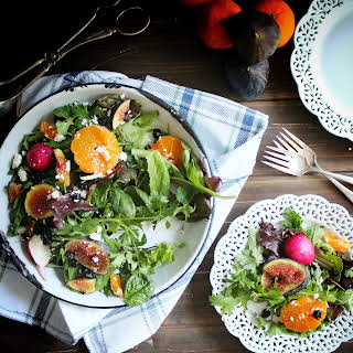Mixed Organic Greens with Fig, Clementine & Feta Cheese.