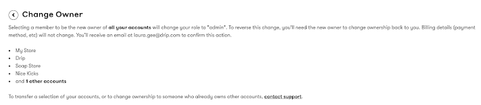 Change account owner confirmation page.