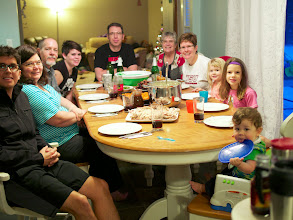 Photo: Christmas Eve Dinner with the whole family - Christie and Sharon were even able to join. As always, Jes prepared a delicious spread.