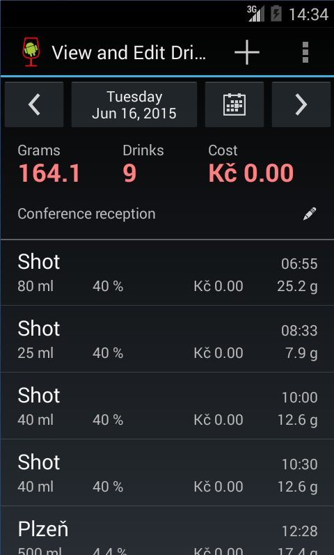 AlcoDroid Alcohol Tracker- screenshot