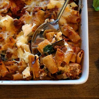 Cheesy Baked Rigatoni with Roasted Eggplant and Greens.
