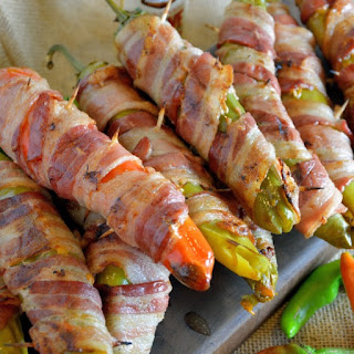 Bacon Wrapped BBQ Chicken Stuffed Chile Peppers.