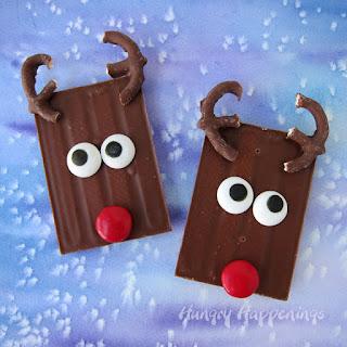 Cute Christmas Treats - Rudolph Candy Bars.
