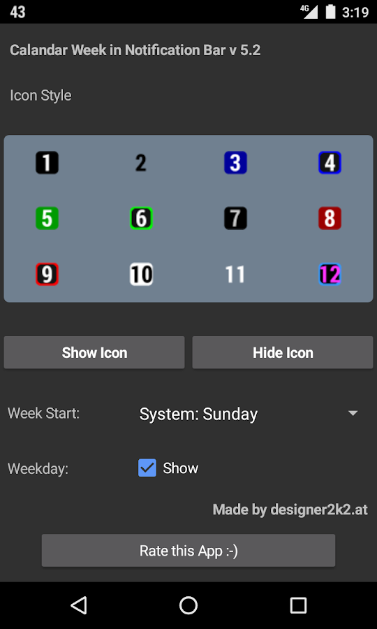 Calendar Week Number Notify- screenshot