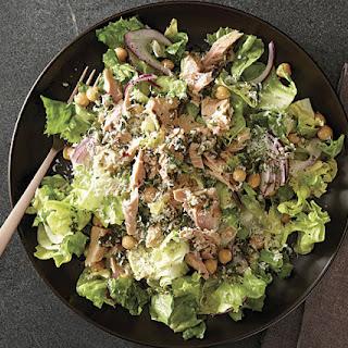 Tuna, Escarole, and Chickpea Salad with Warm Herb-Garlic Vinaigrette