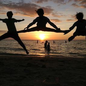 High Jump! by Dickson   Shia - Babies & Children Children Candids ( silhouette, sunset, kids, jump,  )