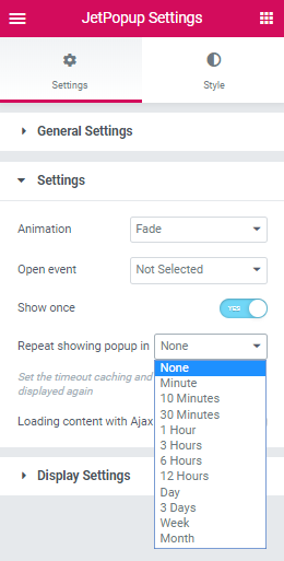 repeat showing popup in option