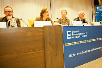 Photo: From left to the right, Michel Pasteel, Director of the Institute for the Equality of Women and Men – Belgium, Néphèli Yatropoulos, Adviser to the French Defender of Rights on European and International issues, Equinet Executive Board Member, Francesca Bettio, Professor of Economics, Lead Coordinator of ENEGE – European Network of Experts on Gender Equality, Jozef de Witte, Chair of the Equinet Executive Board, Director of the Centre for Equal Opportunities and Opposition to Racism – Belgium