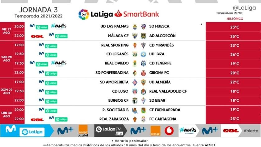 Jornada 3 en Segunda División.