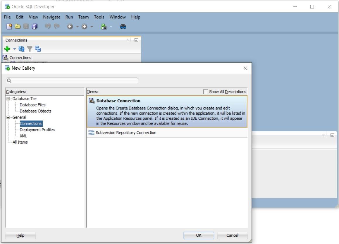 Login vào Oreacle Database sử dụng sqldeveloper