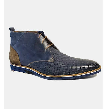 Kingston – boots i blå kalvläder med mockadetaljer