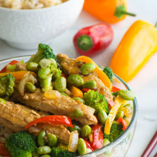 Vegan Teriyaki Chicken and Edamame Rice Bowls.