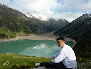Photo: Lake up in the mountains above Almaty - the level is very low. Soldiers explained that its because Almaty uses too much water - then asked me to move on in no uncertain terms.