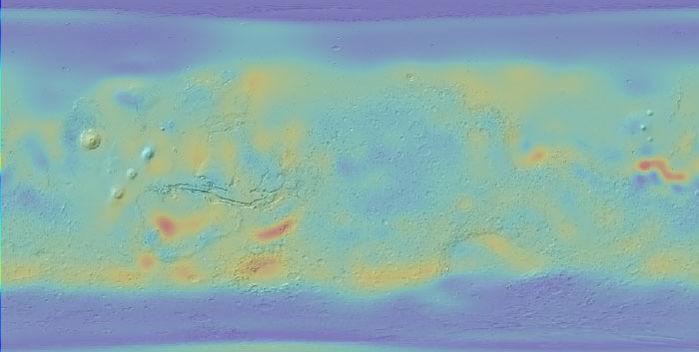 Những vệt sẫm màu là những vùng giàu nước tiềm tàng trên sao Hỏa, trong đó có vùng xích đạo