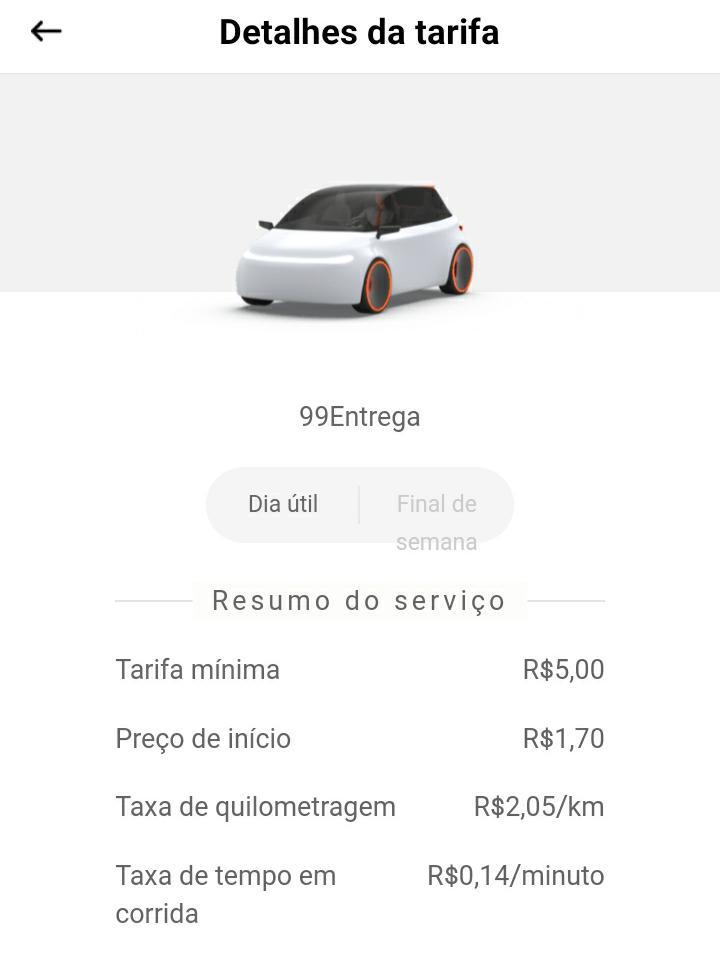 Imagem da tabela de preços da categoria entregas da 99