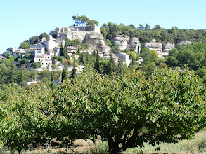 Photo: And on the drive home, we pass Venasque's little neighboring perched village of Le Beaucet, whose summit's 11th-12th century chateau is in the process of renovation. The fresh goat cheese (one of about 100 kinds in France) which we enjoy greatly at breakfast each morning comes from here.
