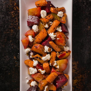 Roasted Beets and Carrots with Goat Cheese and Balsamic Glaze.