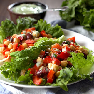 Greek Chickpea Lettuce Wraps.