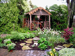 Photo: All the neighbours had raised their yards, resulting in flooding on this property. A drainage swale was planted to tolerate that flooding and this amazing raw-wood gazebo was built on stilts to make the yard usable all the time.