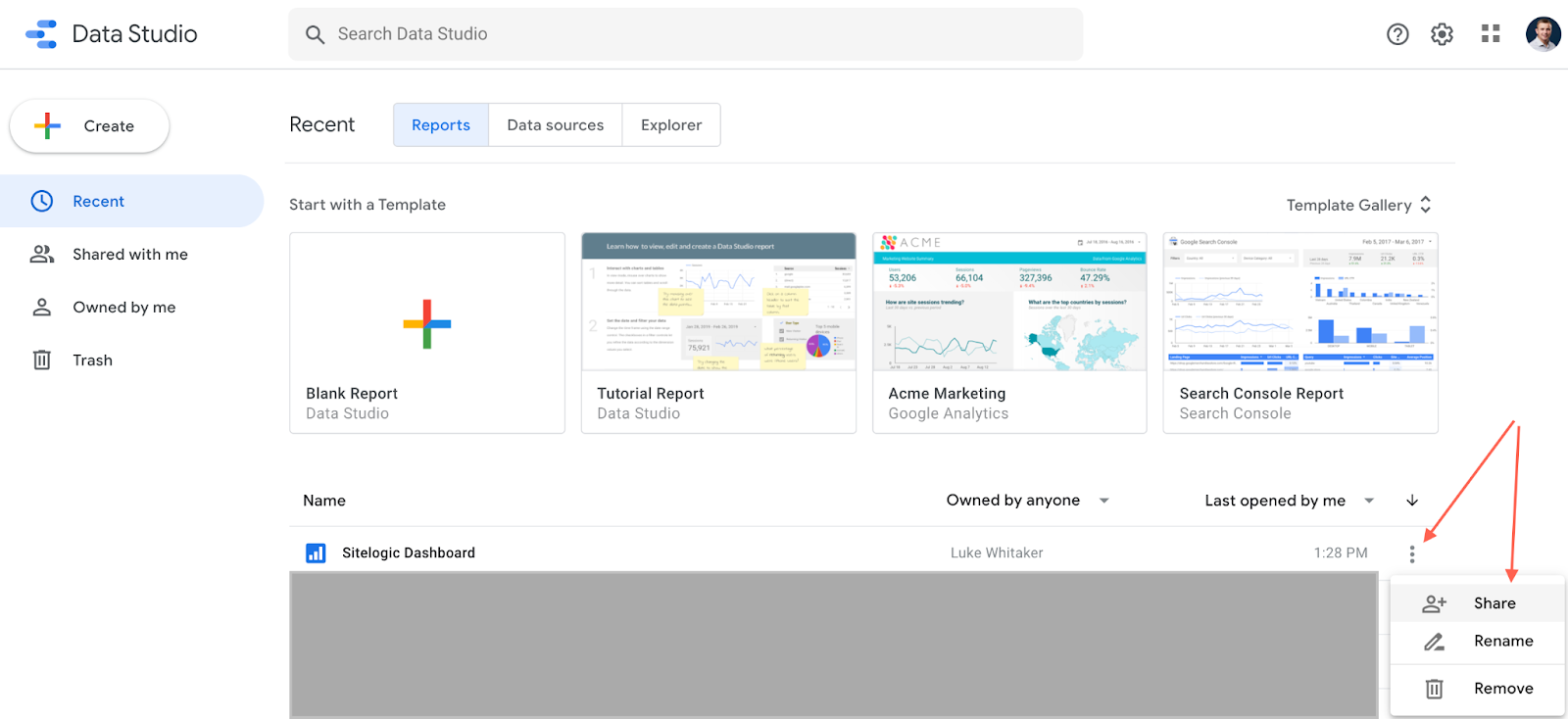 Photo showing how to share a Google Data Studio report from the main reports view.