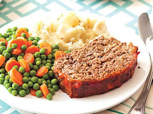 Easy Teriyaki Meatloaf With Mashed Tatoes & Veggie