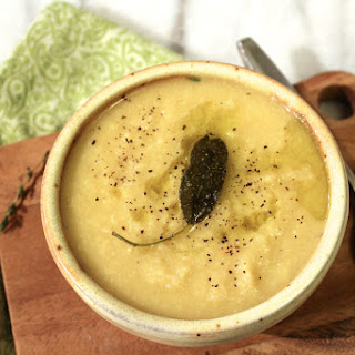 Creamy Cauliflower and Parsnip Soup with Herb Garlic Finishing Oil Recipe