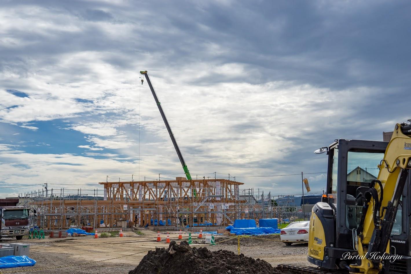 建設がすすむ北竜町の新保育所(撮影:2019年9月9日)