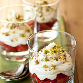 White Chocolate Mousse with Strawberries & Pistachios {or Pretzels}.