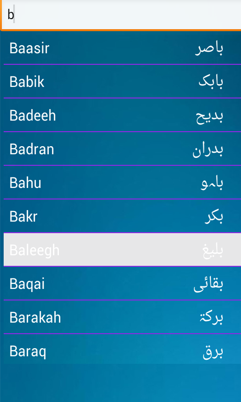 Arabic Muslims Babies Names Screenshot