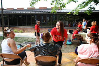 Photo: Delta Phi Epsilon raised more than $150 for the Cystic Fibrosis Foundation  with its recent Pie-A-Deepher event. The pie event was the latest community service event coordinated by DPE to benefit the foundation, which included a kickball game last spring and an Applebee's fundraiser last fall. #BUGreekLife http://bloomu.edu/greek-life-service
