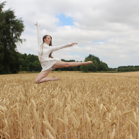 She Can Fly by Kelly Moore - Novices Only Portraits & People ( dancer, forest, wheat, wood, ballet, dance, fairy,  )