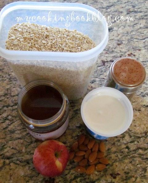 овесени ядки с кисело мляко, вода, ябълки, бадеми и канела