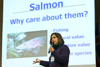 Photo: Jeanette Dorner '94, Ecosystem and Salmon Recovery Director, Puget Sound Partnership, during her presentation.