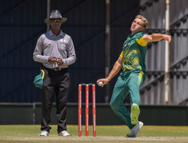 Wiaan Mulder of SA Invitation XI during the 50-Over Tour Match between South Africa Invitation XI and Bangladesh on October 12, 2017 in Bloemfontein, South Africa.