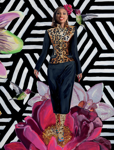 Dolce and Gabbana black leopard jacket, black skirt, and nylons | Muzo x Katherine Jetter emerald diamond Pavé Cage Bar earrings with Muzo emeralds | Longshore x AS IF x Brian Atwood Hudson inspired shoe