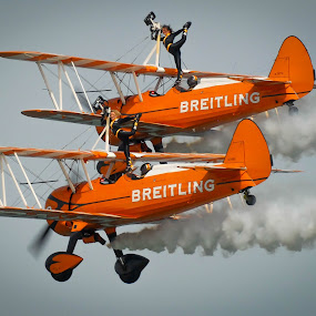Breitling Boeing Stearman Pair by Phil Clarkstone - Transportation Airplanes