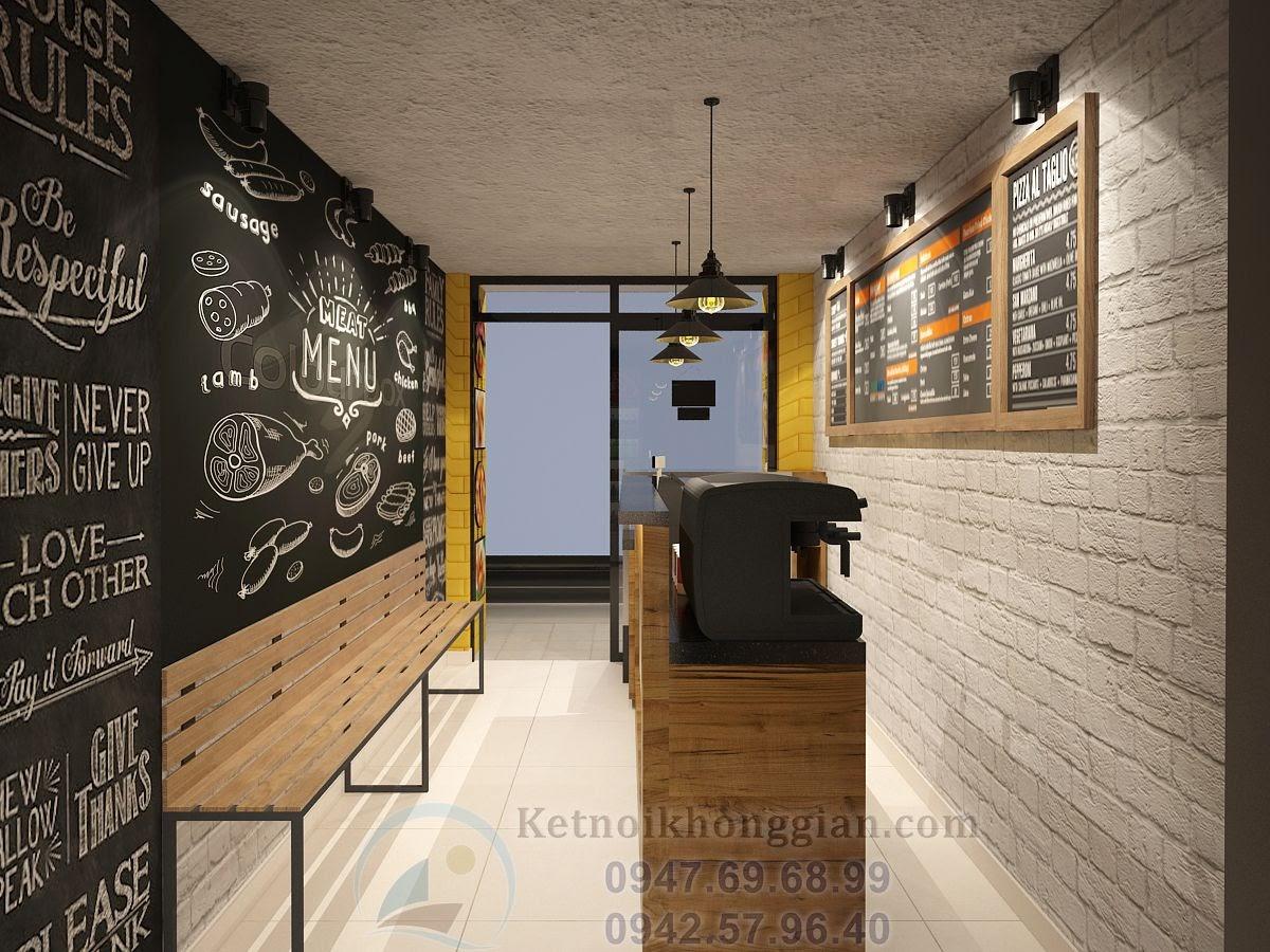 thiết kế quán ăn nhanh tương phản mạnh