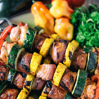 Cajun Chicken And Sausage Skewers.