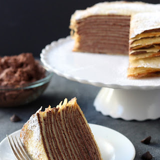 Crepe Cake with Whipped Chocolate Ganache.