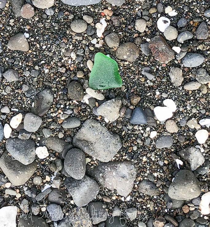 Umatac beach black sand sea glass Guam