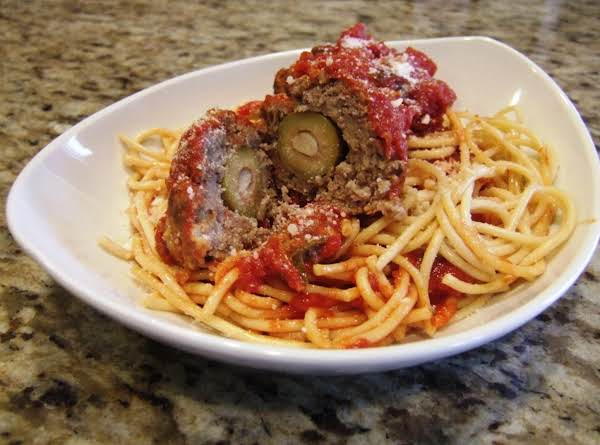 Meatballs Stuffed With Garlic Olives