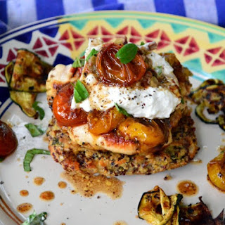 Caprese Grilled Chicken with Roasted Tomatoes and Burrata on Quinoa Cakes