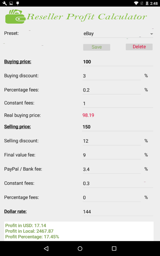 Reseller Profit Calculator- screenshot