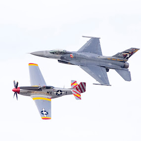 F-16 and P-51 by Scott Helfrich - Transportation Airplanes ( scotthelfrichphotography, floridavintage, plane, florida, war, airshow )