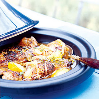 Chicken Tagine with Onions, Honey, and Mint.