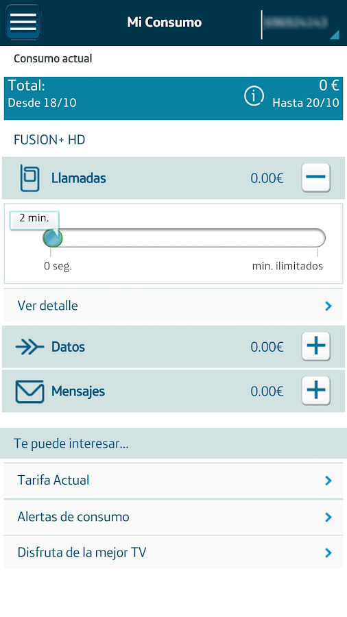 Mi Movistar: captura de pantalla
